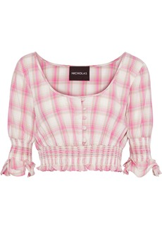 Nicholas Woman Cropped Shirred Checked Cotton-broadcloth Top Pink
