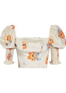 Nicholas Woman Cropped Shirred Floral-print Satin-twill Top Ecru