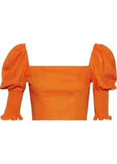Nicholas Woman Cropped Shirred Gauze Top Orange