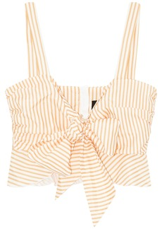 Nicholas Woman Cropped Striped Cotton And Silk-blend Poplin Top Marigold