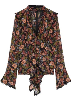 Nicholas Woman Cutout Draped Floral-print Silk-crepe Blouse Black