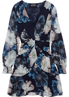 Nicholas Woman Draped Floral-print Silk-chiffon Mini Dress Navy