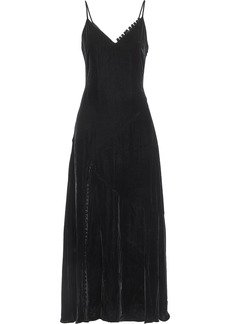 Nicholas Woman Flared Velvet Maxi Dress Black