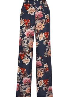Nicholas Woman Floral-print Silk-chiffon Wide-leg Pants Navy