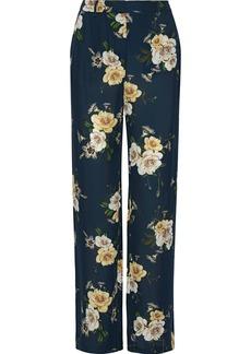 Nicholas Woman Floral-print Silk-chiffon Wide-leg Pants Petrol