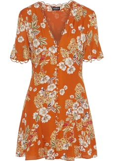 Nicholas Woman Floral-print Silk Crepe De Chine Mini Dress Orange