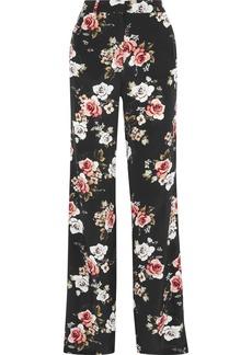 Nicholas Woman Floral-print Silk Wide-leg Pants Black