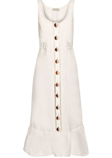Nicholas Woman Garden Button-detailed Ruffled Linen Midi Dress Ivory