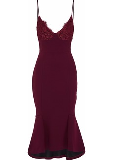 Nicholas Woman Fluted Corded Lace-paneled Crepe Midi Slip Dress Burgundy