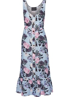 Nicholas Woman Fluted Floral-print Linen Midi Dress Sky Blue