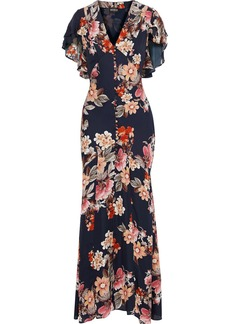 Nicholas Woman Fluted Floral-print Silk-chiffon Maxi Dress Midnight Blue