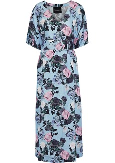 Nicholas Woman Gathered Floral-print Linen Midi Dress Light Blue