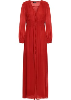 Nicholas Woman Smocked Silk-georgette Maxi Dress Brick