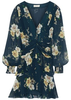 Nicholas Woman Layered Ruched Floral-print Silk-chiffon Mini Dress Midnight Blue