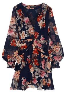 Nicholas Woman Layered Ruched Floral-print Silk-chiffon Mini Dress Midnight Blue