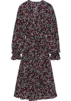 Nicholas Woman Mini Daisy Wrap-effect Floral-print Silk Dress Burgundy