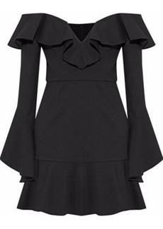 Nicholas Woman Off-the-shoulder Ruffled Ponte Mini Dress Black