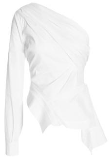 Nicholas Woman One-shoulder Draped Cotton-blend Poplin Top White