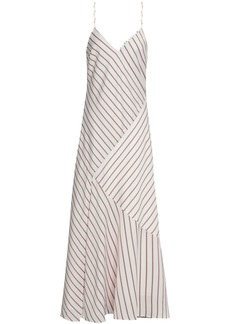 Nicholas Woman Paneled Striped Satin-crepe Maxi Slip Dress White