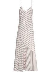 Nicholas Woman Paneled Striped Satin-crepe Maxi Slip Dress White