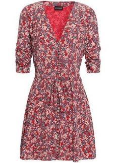 Nicholas Woman Ruched Floral-print Silk-georgette Mini Dress Red
