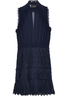 Nicholas Woman Ruffle-trimmed Silk-georgette And Lace Mini Dress Navy