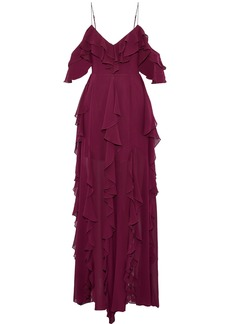 Nicholas Woman Ruffled Silk-georgette Maxi Dress Burgundy