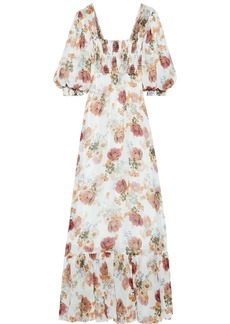 Nicholas Woman Shirred Floral-print Silk-chiffon Maxi Dress Ivory