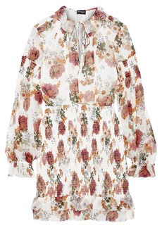 Nicholas Woman Shirred Floral-print Silk-chiffon Mini Dress White