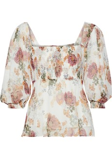 Nicholas Woman Shirred Floral-print Silk-georgette Blouse Ivory