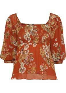 Nicholas Woman Shirred Floral-print Silk-georgette Blouse Orange