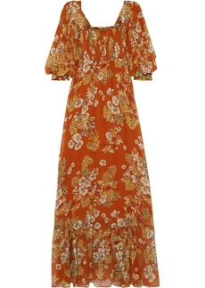 Nicholas Woman Shirred Floral-print Silk-georgette Maxi Dress Orange