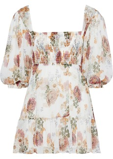 Nicholas Woman Shirred Floral-print Silk-georgette Mini Dress White