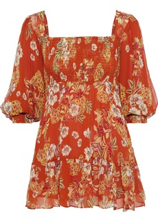 Nicholas Woman Shirred Floral-print Silk-georgette Mini Dress Orange