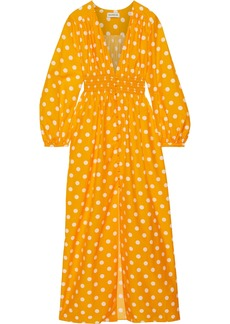 Nicholas Woman Shirred Polka-dot Cotton And Silk-blend Maxi Dress Saffron