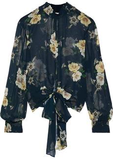 Nicholas Woman Tie-front Floral-print Shirred Silk-chiffon Blouse Petrol