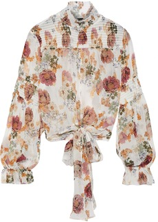 Nicholas Woman Tie-front Floral-print Shirred Silk-chiffon Blouse White