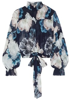 Nicholas Woman Tie-front Shirred Floral-print Silk-chiffon Blouse Navy