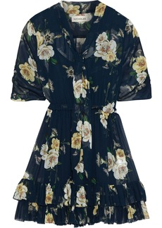 Nicholas Woman Tie-neck Floral-print Chiffon Mini Dress Midnight Blue