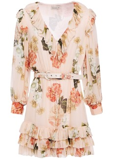 Nicholas Woman Tiered Floral-print Silk-georgette Mini Dress Blush