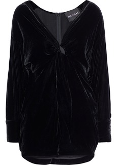Nicholas Woman Twist-front Velvet Mini Dress Black