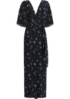 Nicholas Woman Wrap-effect Cutout Floral-print Silk-georgette Jumpsuit Navy