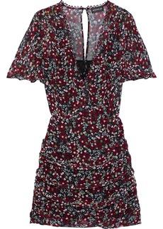 Nicholas Woman Wrap-effect Floral-print Silk-georgette Mini Dress Black