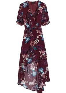 Nicholas Woman Wrap-effect Ruched Floral-print Silk-georgette Dress Burgundy