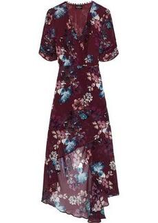 Nicholas Woman Wrap-effect Ruched Floral-print Silk-georgette Dress Burgundy