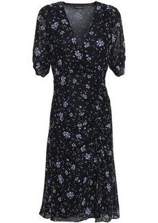 Nicholas Woman Wrap-effect Ruched Floral-print Silk-georgette Dress Navy