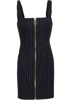 Nicholas Woman Zip-detailed Pinstriped Twill Mini Dress Midnight Blue