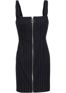 Nicholas Woman Zip-detailed Pinstriped Twill Mini Dress Midnight Blue