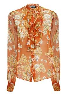 NICHOLAS Orange Ruffle Front Floral Blouse