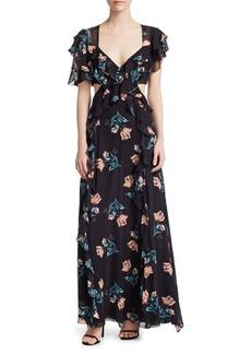 NICHOLAS Piper Silk Cutout Maxi Dress
